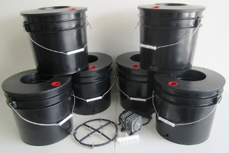 Six Black Widow Grow Bucket DWC 3.5 gal. System Bundle