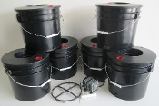 Six Black Widow Grow Bucket DWC 5 gal. System Bundle